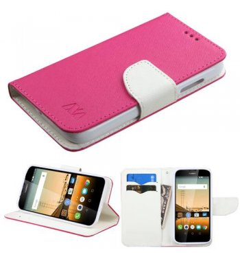 Huawei Union Y538 Hot Pink Pattern/White Liner wallet with Card Slot