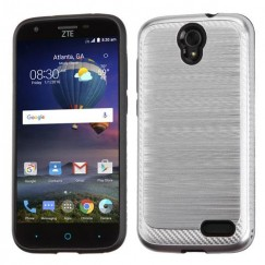 ZTE Grand X 3 / Warp 7 Silver/Black Brushed Hybrid Case with Carbon Fiber Accent