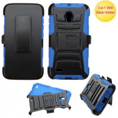 Alcatel Pop Icon 2 Black/ Blue Advanced Armor Stand Case with Black Holster