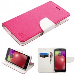 Motorola Moto E4 Hot Pink Pattern/White Liner wallet with Card Slot