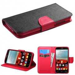 Alcatel One Touch Fierce 2 Black Pattern/Red Liner Wallet with Card Slot