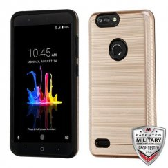 ZTE Blade Z Max / Sequoia Z982 Rose Gold/Black Brushed Hybrid Case with Carbon Fiber Accent