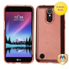 LG K10 Transparent Rose Gold Sheer Glitter Premium Candy Skin Cover