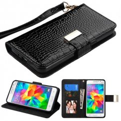 Samsung Galaxy Grand Prime Black Crocodile-Embossed Wallet