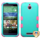 HTC Desire 510 Rubberized Teal Green/Electric Pink Hybrid Case