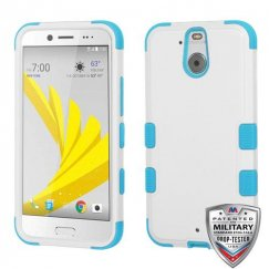 HTC Bolt Natural Ivory White/Tropical Teal Hybrid Case - Military Grade