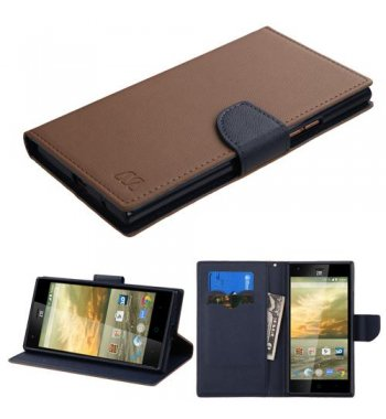 ZTE Warp Elite Brown Pattern/Dark Blue Liner wallet with Card Slot