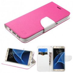 Samsung Galaxy S7 Edge Hot Pink Pattern/White Liner wallet with Card Slot