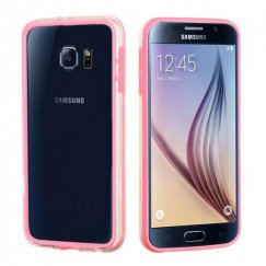 Samsung Galaxy S6 Pink/Transparent Clear Case