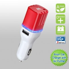 White/red Anion Car Charger with Air Purifier with Dual USB output - 3.1 Amps