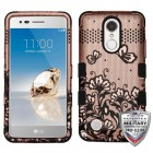 Black Lace Flowers (2D Rose Gold)/Black Hybrid Phone Protector Cover [Military-Grade Certified]