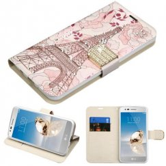 LG K8 / Phoenix 3 Eiffel Tower Diamante Wallet with Diamante Belt