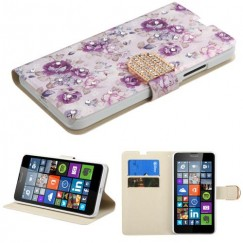 Nokia Lumia 640 Fresh Purple Flowers Diamante Wallet with Diamante Belt