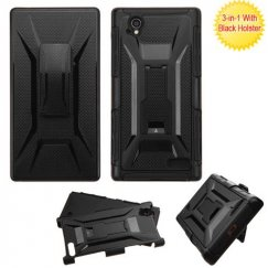 ZTE Warp Elite Black/Black Advanced Armor Stand Case with Black Holster