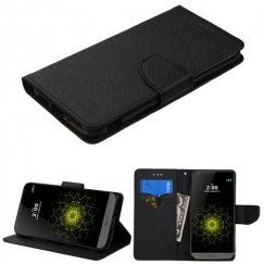 LG G5 Black Pattern/Black Liner wallet with Card Slot