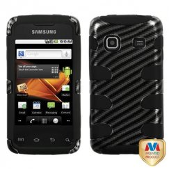 Samsung Galaxy Prevail Racing Fiber 2D Silver /Black Fishbone Case
