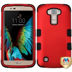 LG K10 Titanium Red/Black Hybrid Case