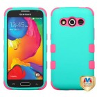 Samsung Galaxy Avant Rubberized Teal Green/Electric Pink Hybrid Phone Protector Cover