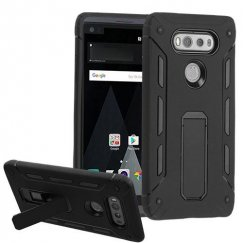 LG V20 Black/Black Hybrid Protector Cover (with Stand)