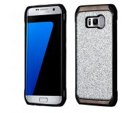 Samsung Galaxy S8 Plus Silver Glitter(Black Plating)/Black Astronoot Protector Cover