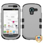 Samsung Galaxy Exhibit Rubberized Gray/Black Hybrid Phone Protector Cover