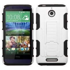 HTC Desire 510 White/Black Car Armor Stand Case - Rubberized