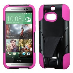 HTC One M8 Hot Pink Inverse Advanced Armor Stand Case