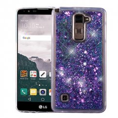 LG LG G Stylo 2 Plus Hearts & Purple Quicksand Glitter Hybrid Case