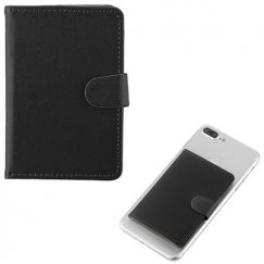 Black Adhesive Card Pouch with Magnetic Snap