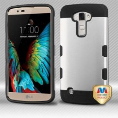 LG K10 Rubberized Space Silver/Black Hybrid Case