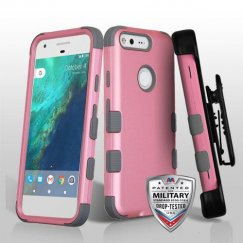 Google Pixel Rubberized Pearl Pink/Iron Gray Hybrid Case - Military Grade with Black Horizontal Holster
