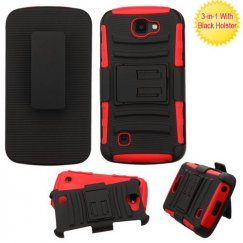 LG K3 Black/Red Advanced Armor Stand Case with Black Holster