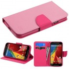 Motorola Moto G 2nd Gen Pink Pattern/Hot Pink Liner Wallet with Card Slot