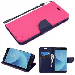 Samsung Galaxy J7 Hot Pink Pattern/Dark Blue Liner wallet (with card slot)(84J) -WP