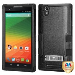 ZTE ZMax Natural Black/Black Hybrid Case with Stand