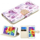 Samsung Galaxy Core Prime Fresh Purple Flowers Diamante Wallet(with Diamante Belt)