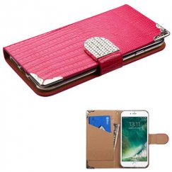 Apple iPhone 8 Hot Pink Crocodile Skin Wallet with Metal Diamonds Buckle & Silver Plating Tray