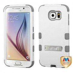 Samsung Galaxy S6 Natural Cream White/Iron Gray Hybrid Case with Stand
