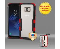 Samsung Galaxy S8 Natural Black Frame????? PC Back/Red Vivid Hybrid Protector Cover