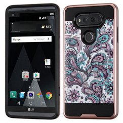 LG V20 Purple European Flowers Rose Gold/Black Brushed Hybrid Case