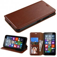 Nokia Lumia 640 Brown Wallet with Tray