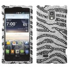 LG Spectrum 2 Black Zebra Skin Diamante Case