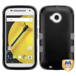 Motorola Moto E 2nd Gen Natural Black/Iron Gray Hybrid Case