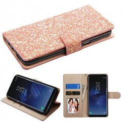 Samsung Galaxy S8 Plus Rose Gold Hexagon Flakes Wallet with Card Slots
