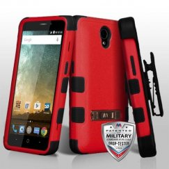 ZTE Prestige 2 Natural Red/Black Hybrid Case with Stand Military Grade with Black Horizontal Holster