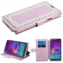 Samsung Galaxy Note 4 Pink Silk Texture Diamante Wallet(with Large Pearls)