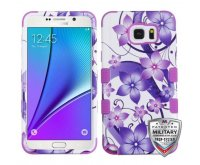 Samsung Galaxy Note 5 Purple Hibiscus Flower Romance/Electric Purple Hybrid Phone Protector Cover [Military-Grade Certified]