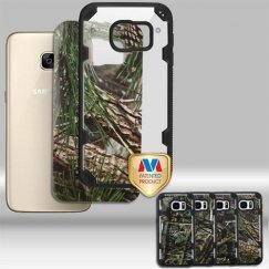 Samsung Galaxy S7 Transparent Clear/Black Hybrid Case with English Oak II/Pine Tree/Oak Leaves/Cedar Tree