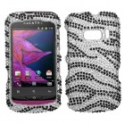 Alcatel One Touch 918 Black Zebra Skin Diamante Case
