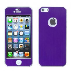 Apple iPhone SE Purple Brushed METAL Decal Shield Case
